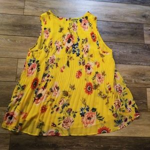 Ava & Viv yellow pleated floral Baby doll top